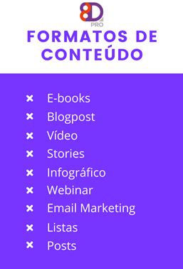 Formatos de conteúdo