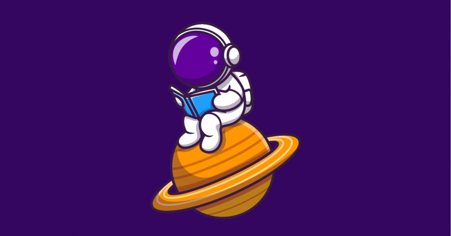 Uma ilustração com o fundo roxo co um astronauta sentado em cima de um planeta lendo um playbook de vendas para aprender a definir gatilhos de vendas.