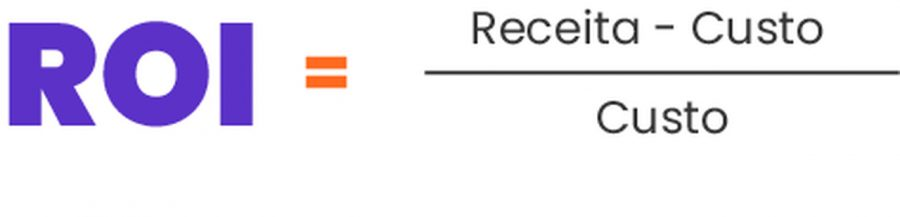 Fórmula de Retorno sobre Investimento. Como calcular ROI: Receita menos custo divido por custo.